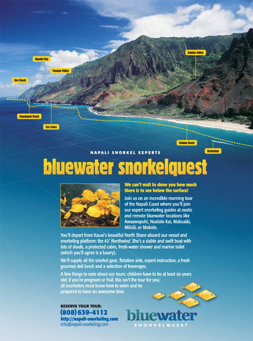 Bluewater Snorkelquest Ad Design