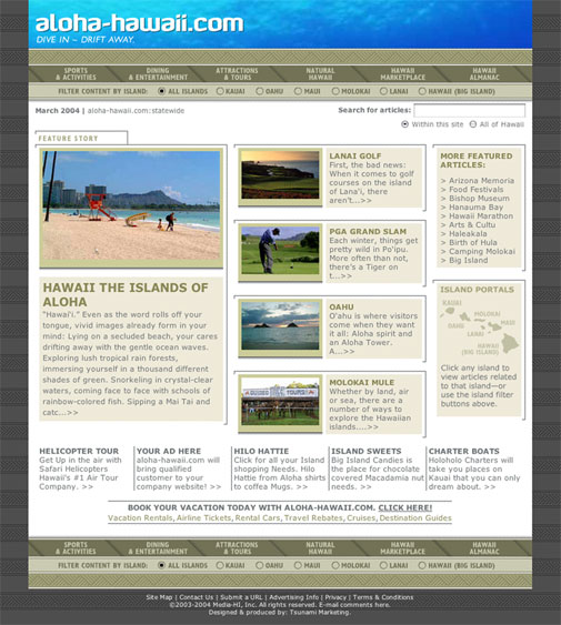 Hawaii Web Portal Design