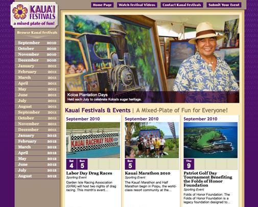 Kauai Festivals Website Design