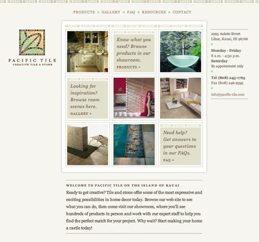 Pacific Tile Website Design