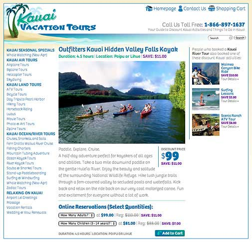 KauaiVacationTours.com Website