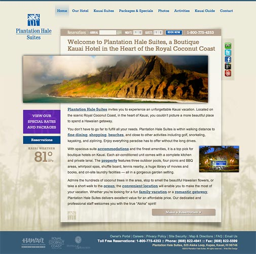 Plantation Hale Suites Website Design
