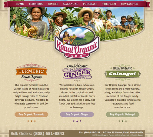Kauai Organic Farms Website Design