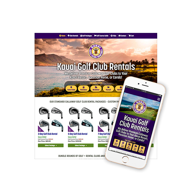 Kauai Golf Club Rentals Website Design